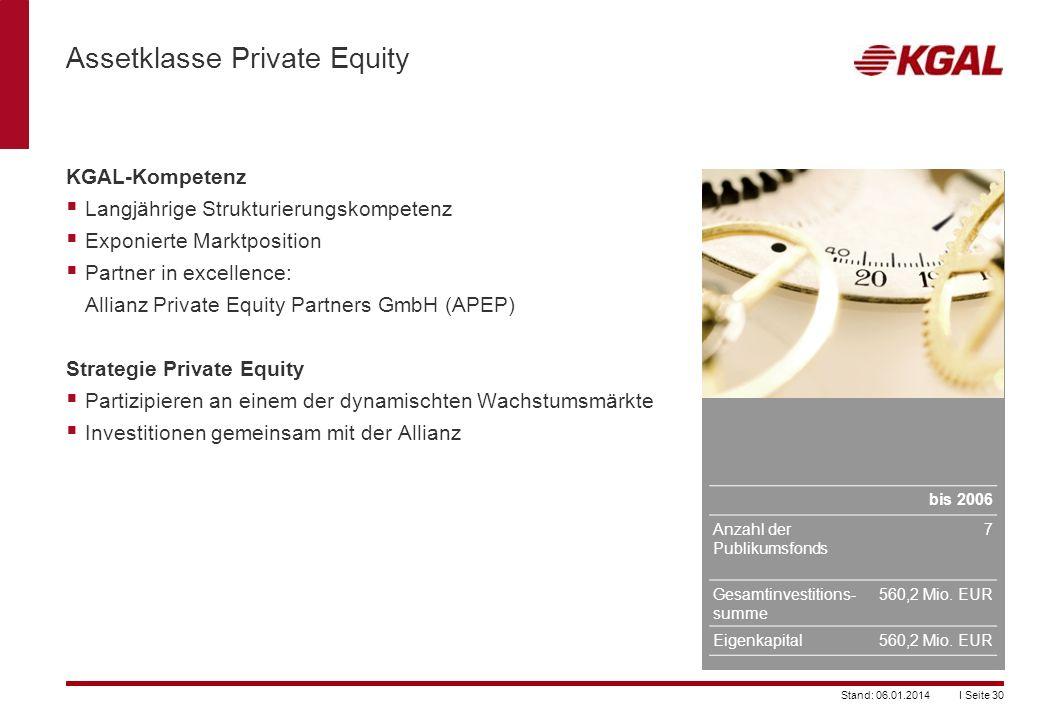 I Seite 30Stand: 06.01.2014 Assetklasse Private Equity KGAL-Kompetenz Langjährige Strukturierungskompetenz Exponierte Marktposition Partner in excelle