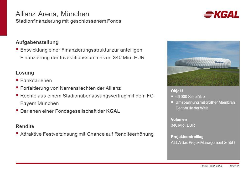 I Seite 31Stand: 06.01.2014 Allianz Arena, München Stadionfinanzierung mit geschlossenem Fonds Aufgabenstellung Entwicklung einer Finanzierungsstruktu