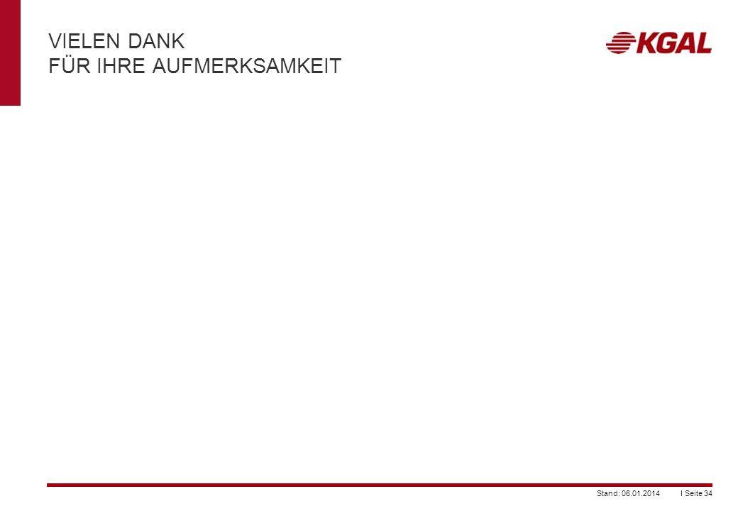 I Seite 34Stand: 06.01.2014 VIELEN DANK FÜR IHRE AUFMERKSAMKEIT