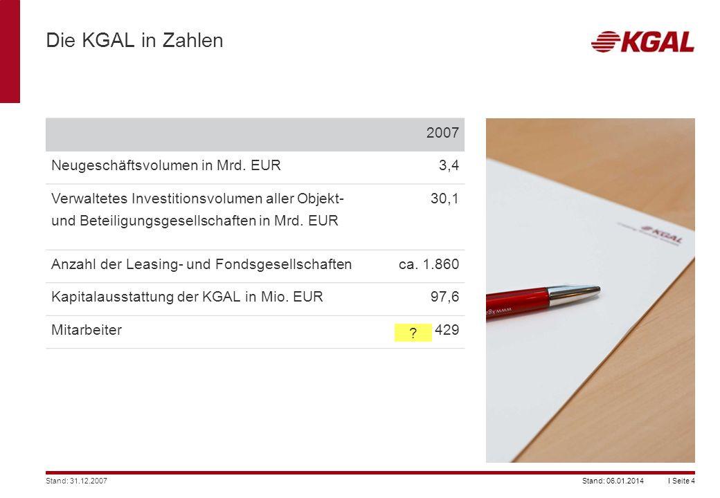 I Seite 4Stand: 06.01.2014 Die KGAL in Zahlen 2007 Neugeschäftsvolumen in Mrd. EUR3,4 Verwaltetes Investitionsvolumen aller Objekt- und Beteiligungsge