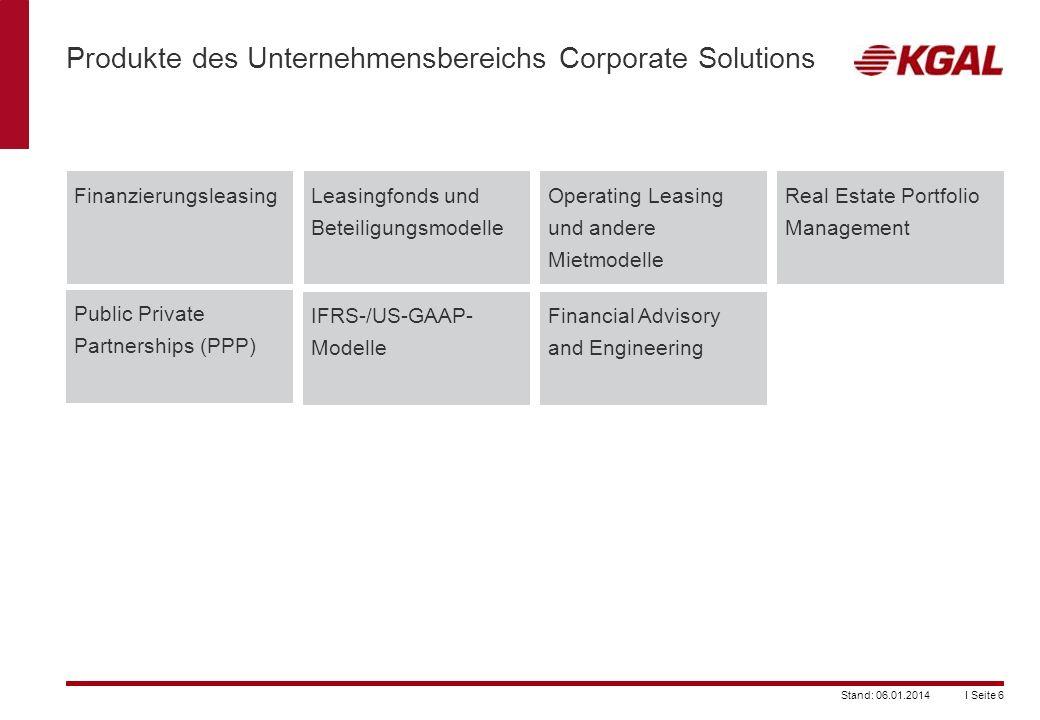 I Seite 6Stand: 06.01.2014 Produkte des Unternehmensbereichs Corporate Solutions FinanzierungsleasingLeasingfonds und Beteiligungsmodelle Operating Le