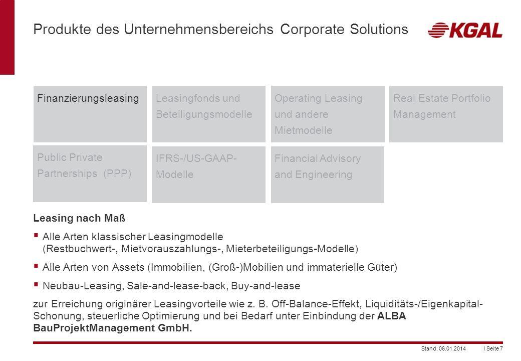 I Seite 7Stand: 06.01.2014 Produkte des Unternehmensbereichs Corporate Solutions FinanzierungsleasingLeasingfonds und Beteiligungsmodelle Operating Le