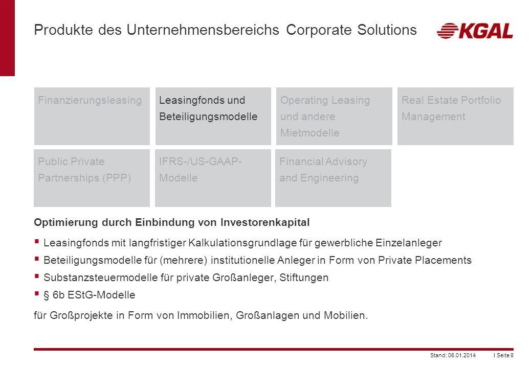 I Seite 8Stand: 06.01.2014 Leasingfonds und Beteiligungsmodelle Produkte des Unternehmensbereichs Corporate Solutions FinanzierungsleasingOperating Le