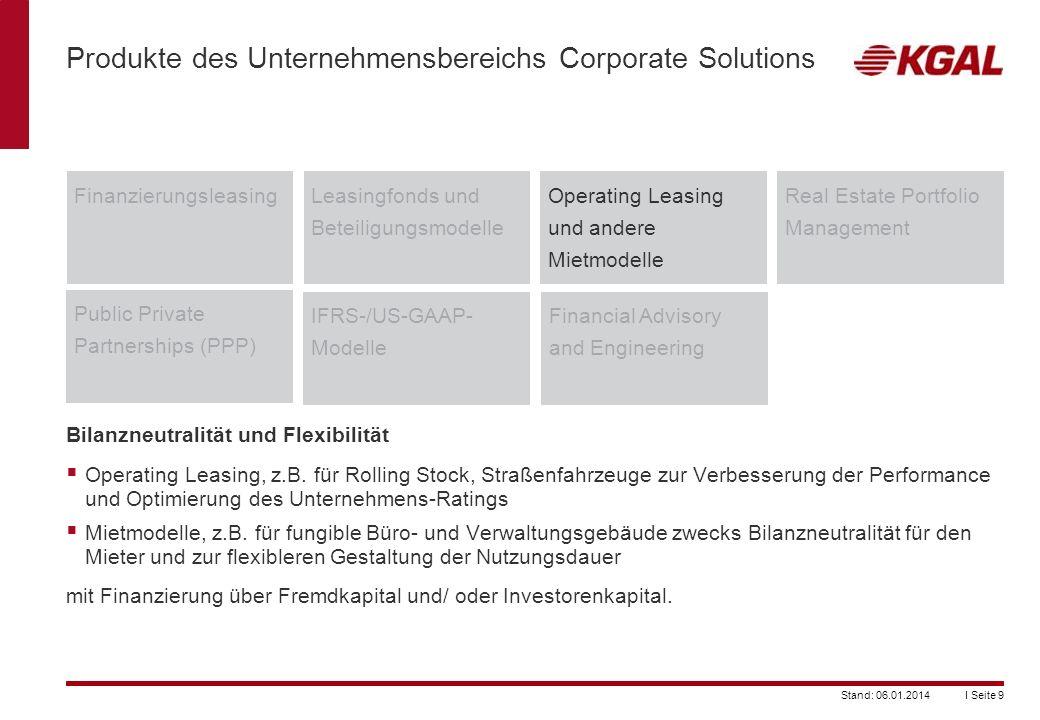 I Seite 9Stand: 06.01.2014 Produkte des Unternehmensbereichs Corporate Solutions FinanzierungsleasingLeasingfonds und Beteiligungsmodelle Operating Le