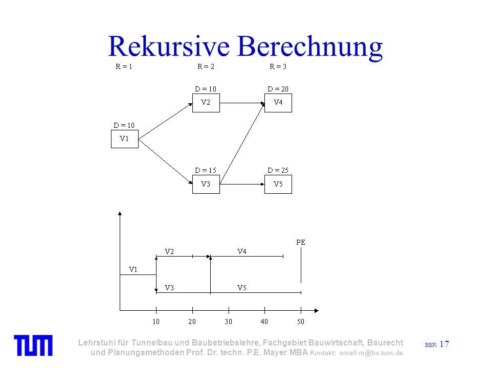 BBPl 17 Lehrstuhl für Tunnelbau und Baubetriebslehre, Fachgebiet Bauwirtschaft, Baurecht und Planungsmethoden Prof.