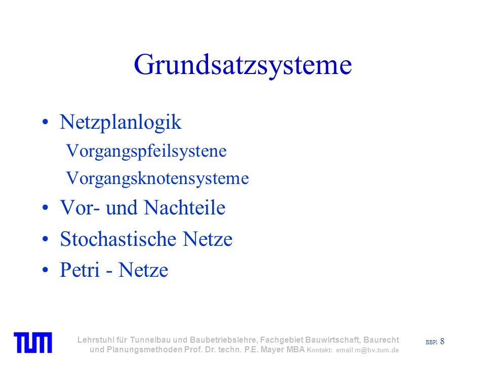 BBPl 8 Lehrstuhl für Tunnelbau und Baubetriebslehre, Fachgebiet Bauwirtschaft, Baurecht und Planungsmethoden Prof.