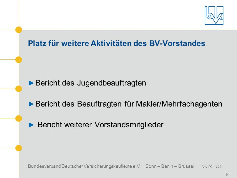 Bundesverband Deutscher Versicherungskaufleute e.V. Bonn – Berlin – Brüssel © BVK – 2011 10 Platz für weitere Aktivitäten des BV-Vorstandes Bericht de