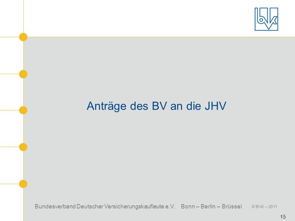 Bundesverband Deutscher Versicherungskaufleute e.V. Bonn – Berlin – Brüssel © BVK – 2011 15 Anträge des BV an die JHV