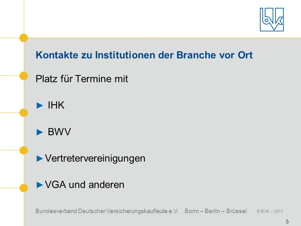 Bundesverband Deutscher Versicherungskaufleute e.V. Bonn – Berlin – Brüssel © BVK – 2011 5 Kontakte zu Institutionen der Branche vor Ort Platz für Ter