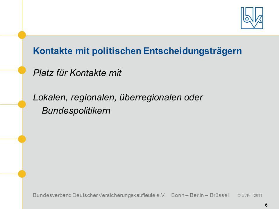 Bundesverband Deutscher Versicherungskaufleute e.V. Bonn – Berlin – Brüssel © BVK – 2011 6 Kontakte mit politischen Entscheidungsträgern Platz für Kon
