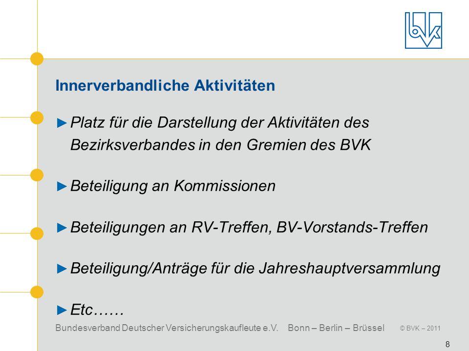 Bundesverband Deutscher Versicherungskaufleute e.V. Bonn – Berlin – Brüssel © BVK – 2011 8 Innerverbandliche Aktivitäten Platz für die Darstellung der