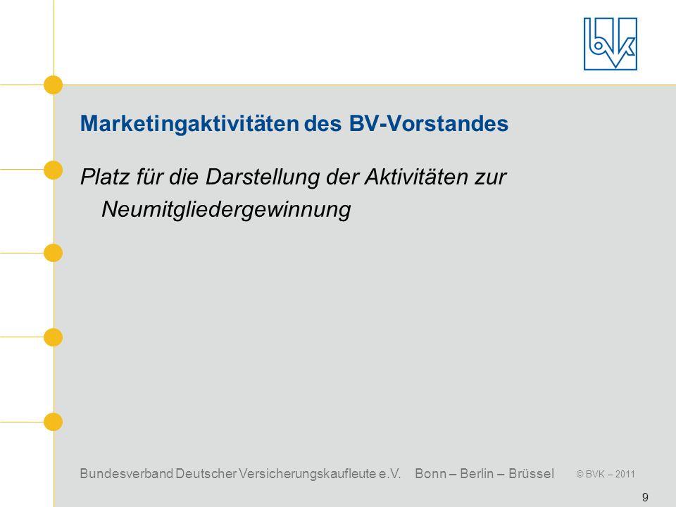 Bundesverband Deutscher Versicherungskaufleute e.V. Bonn – Berlin – Brüssel © BVK – 2011 9 Marketingaktivitäten des BV-Vorstandes Platz für die Darste