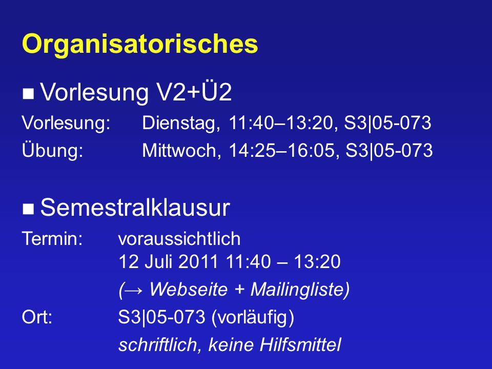 Organisatorisches Vorlesung V2+Ü2 Vorlesung:Dienstag, 11:40–13:20, S3|05-073 Übung:Mittwoch, 14:25–16:05, S3|05-073 Semestralklausur Termin:voraussich