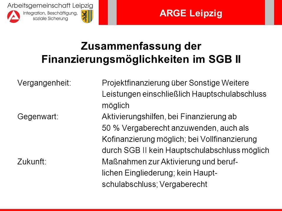 ARGE Leipzig Zusammenfassung der Finanzierungsmöglichkeiten im SGB II Vergangenheit:Projektfinanzierung über Sonstige Weitere Leistungen einschließlic