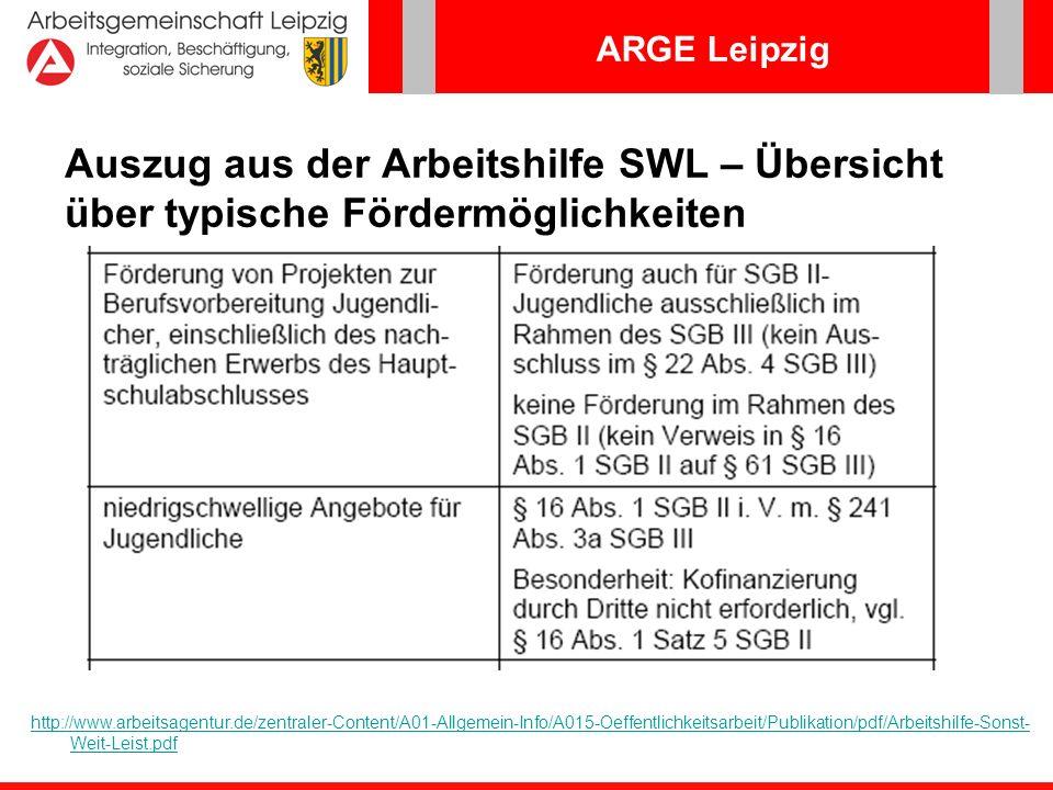 ARGE Leipzig Link zur Geschäftsanweisung Aktivierungshilfen http://www.arbeitsagentur.de/zentraler-Content/HEGA-Internet/A05- Berufl-Qualifizierung/Publikation/HEGA-12-2007-VA-GA- Ausbildungsfoerderung-Anlage-3.pdf http://www.arbeitsagentur.de/zentraler-Content/A03- Berufsberatung/A031-Berufseinsteiger/Publikation/pdf/Verfahrensinfo- 080409-BvB.pdf Link zur E-Mail-INFO SGB III/Verfahrens-INFO SGB II zu Berufsvorbereitenden Bildungs- maßnahmen vom 07.04.08