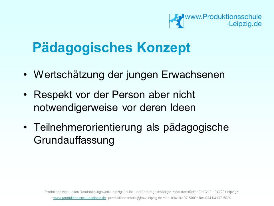 Pädagogisches Konzept Wertschätzung der jungen Erwachsenen Respekt vor der Person aber nicht notwendigerweise vor deren Ideen Teilnehmerorientierung a