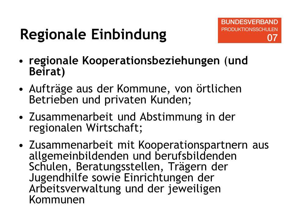 regionale Kooperationsbeziehungen (und Beirat) Aufträge aus der Kommune, von örtlichen Betrieben und privaten Kunden; Zusammenarbeit und Abstimmung in