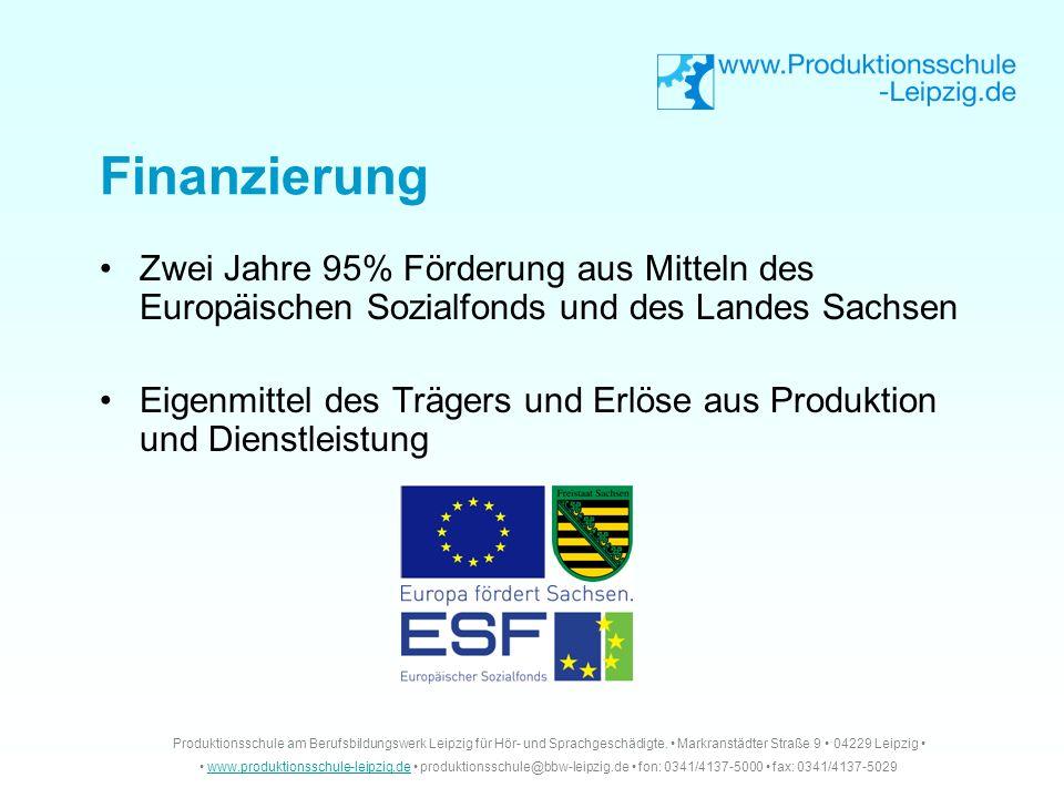 Zwei Jahre 95% Förderung aus Mitteln des Europäischen Sozialfonds und des Landes Sachsen Eigenmittel des Trägers und Erlöse aus Produktion und Dienstl