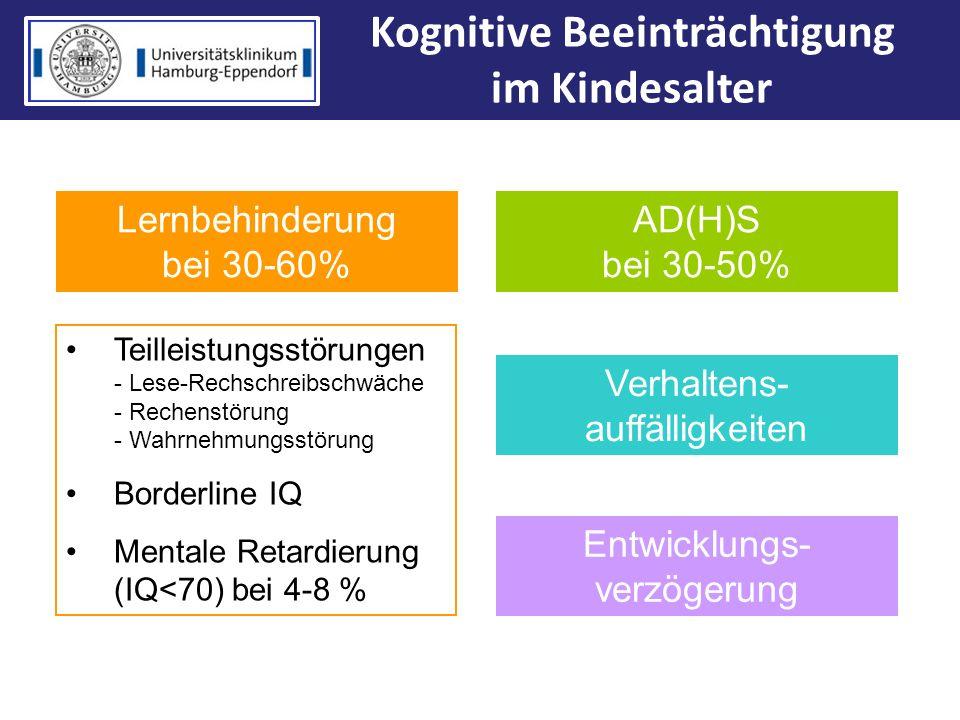 Kognitive Beeinträchtigung im Kindesalter Lernbehinderung bei 30-60% AD(H)S bei 30-50% Teilleistungsstörungen - Lese-Rechschreibschwäche - Rechenstöru