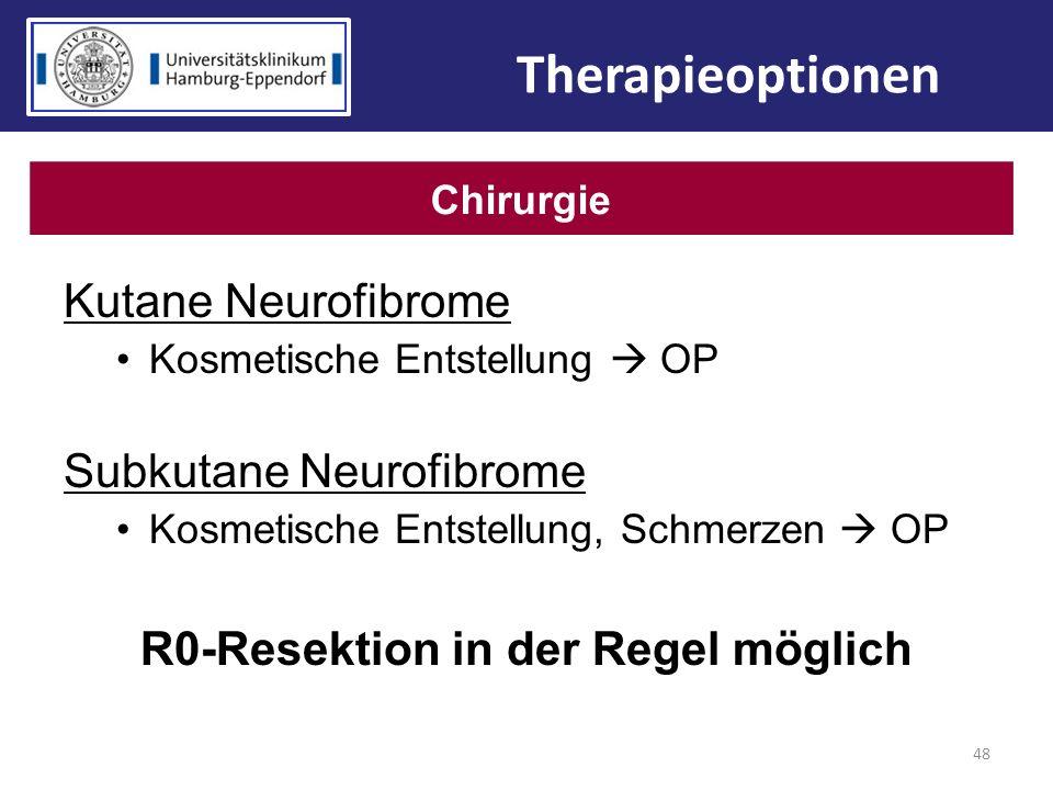 Kutane Neurofibrome Kosmetische Entstellung OP Subkutane Neurofibrome Kosmetische Entstellung, Schmerzen OP R0-Resektion in der Regel möglich 48 Thera