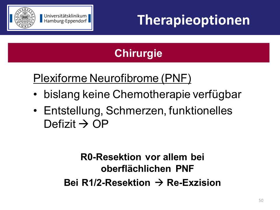 Plexiforme Neurofibrome (PNF) bislang keine Chemotherapie verfügbar Entstellung, Schmerzen, funktionelles Defizit OP R0-Resektion vor allem bei oberfl