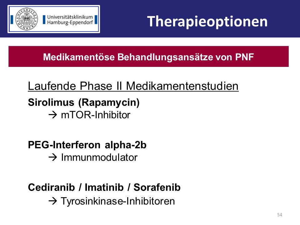 54 Therapieoptionen Medikamentöse Behandlungsansätze von PNF Laufende Phase II Medikamentenstudien Sirolimus (Rapamycin) mTOR-Inhibitor PEG-Interferon