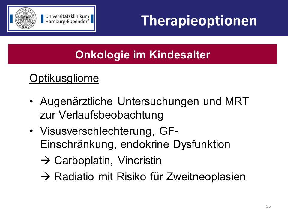 Optikusgliome Augenärztliche Untersuchungen und MRT zur Verlaufsbeobachtung Visusverschlechterung, GF- Einschränkung, endokrine Dysfunktion Carboplati