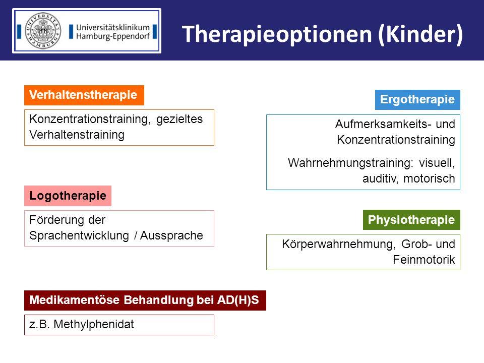 Medikamentöse Behandlung bei AD(H)S Therapieoptionen (Kinder) Verhaltenstherapie Konzentrationstraining, gezieltes Verhaltenstraining Ergotherapie Auf