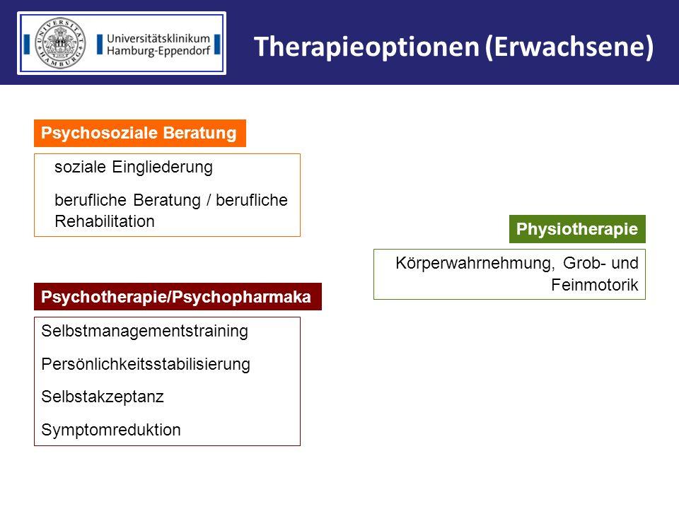 Therapieoptionen (Erwachsene) Psychotherapie/Psychopharmaka Selbstmanagementstraining Persönlichkeitsstabilisierung Selbstakzeptanz Symptomreduktion P
