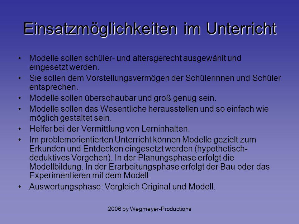 2006 by Wegmeyer-Productions dienen der Erkenntnisvermittlung oder Erkenntnisgewinnung denkökonomische Funktion Heuristische Funktion Anschauungsfunkt