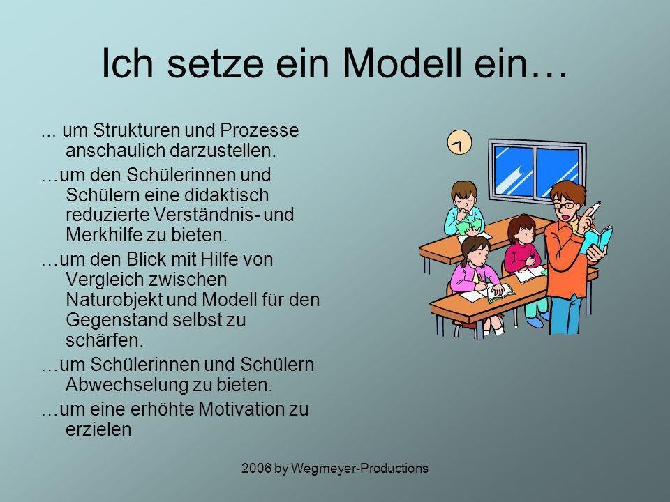2006 by Wegmeyer-Productions Einsatzmöglichkeiten im Unterricht Modelle sollen schüler- und altersgerecht ausgewählt und eingesetzt werden. Sie sollen