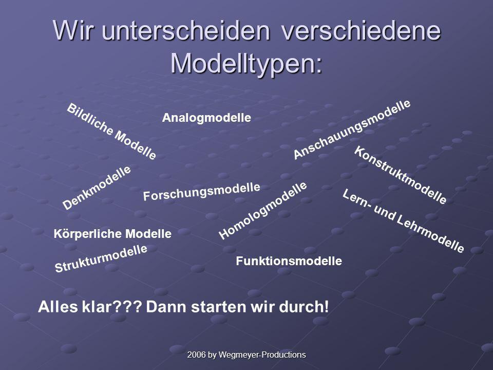 2006 by Wegmeyer-Productions Ich setze ein Modell ein… … um Strukturen und Prozesse anschaulich darzustellen. …um den Schülerinnen und Schülern eine d