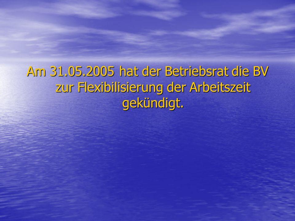 Am 31.05.2005 hat der Betriebsrat die BV zur Flexibilisierung der Arbeitszeit gekündigt.