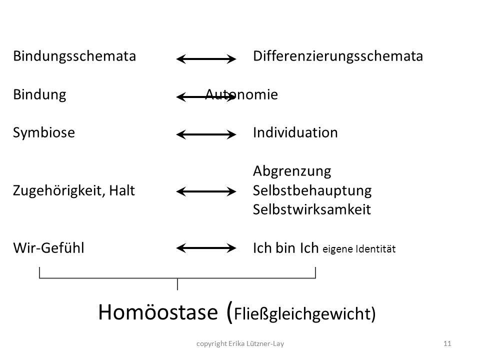 copyright Erika Lützner-Lay11 Homöostase ( Fließgleichgewicht) BindungsschemataDifferenzierungsschemata Bindung Autonomie SymbioseIndividuation Abgren