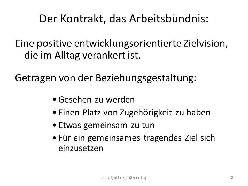 18 Der Kontrakt, das Arbeitsbündnis: Eine positive entwicklungsorientierte Zielvision, die im Alltag verankert ist. Getragen von der Beziehungsgestalt