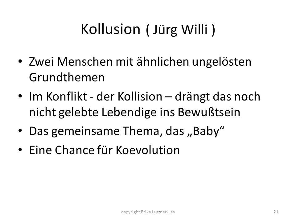 copyright Erika Lützner-Lay21 Kollusion ( Jürg Willi ) Zwei Menschen mit ähnlichen ungelösten Grundthemen Im Konflikt - der Kollision – drängt das noc