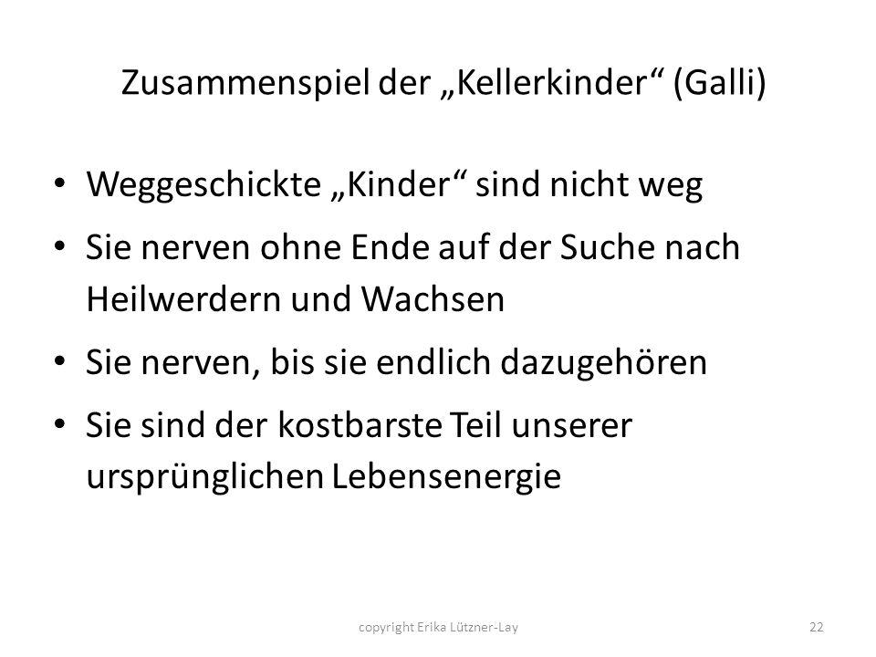 copyright Erika Lützner-Lay22 Zusammenspiel der Kellerkinder (Galli) Weggeschickte Kinder sind nicht weg Sie nerven ohne Ende auf der Suche nach Heilw
