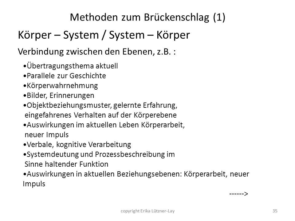 35 Methoden zum Brückenschlag (1) Körper – System / System – Körper Verbindung zwischen den Ebenen, z.B. : Übertragungsthema aktuell Parallele zur Ges