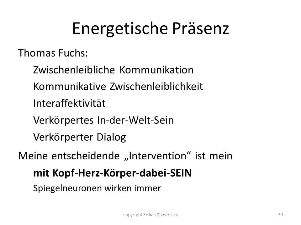 39 Energetische Präsenz Thomas Fuchs: Zwischenleibliche Kommunikation Kommunikative Zwischenleiblichkeit Interaffektivität Verkörpertes In-der-Welt-Se