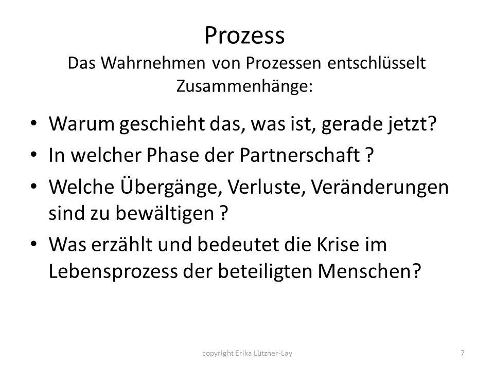 copyright Erika Lützner-Lay7 Prozess Das Wahrnehmen von Prozessen entschlüsselt Zusammenhänge: Warum geschieht das, was ist, gerade jetzt? In welcher