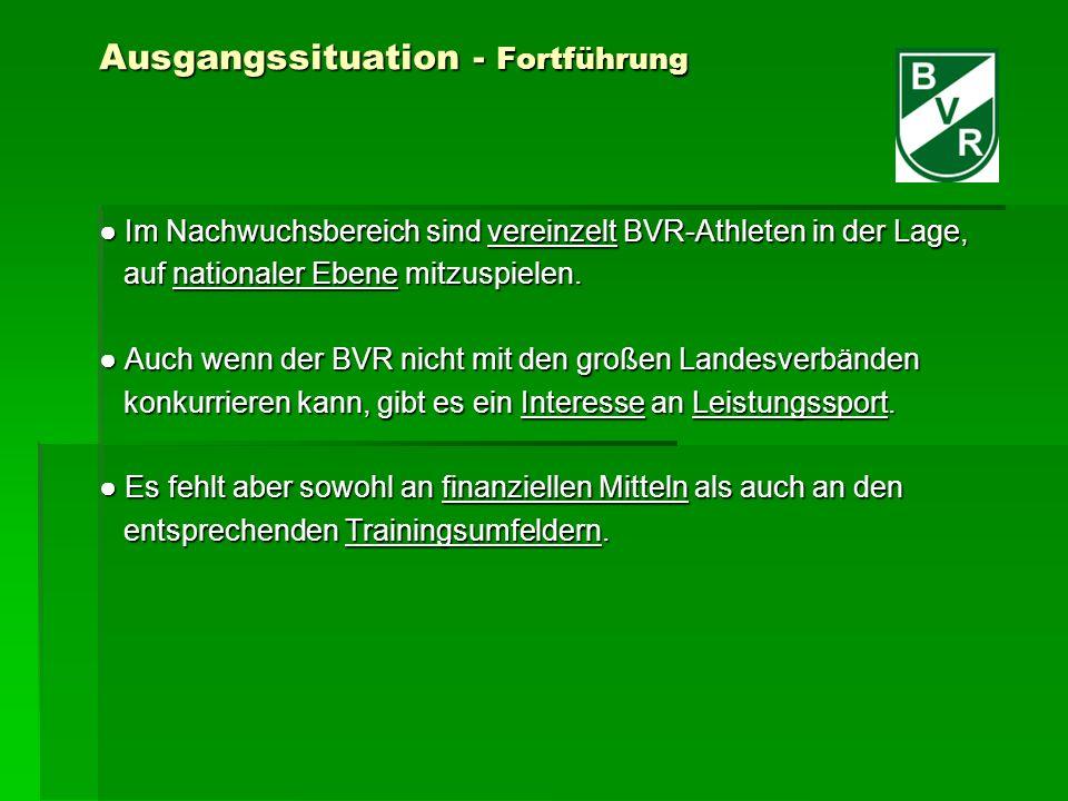 Ausgangssituation - Fortführung Im Nachwuchsbereich sind vereinzelt BVR-Athleten in der Lage, Im Nachwuchsbereich sind vereinzelt BVR-Athleten in der Lage, auf nationaler Ebene mitzuspielen.
