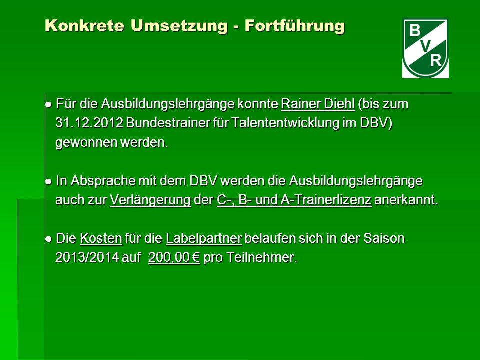 Konkrete Umsetzung - Fortführung Für die Ausbildungslehrgänge konnte Rainer Diehl (bis zum Für die Ausbildungslehrgänge konnte Rainer Diehl (bis zum 31.12.2012 Bundestrainer für Talententwicklung im DBV) 31.12.2012 Bundestrainer für Talententwicklung im DBV) gewonnen werden.