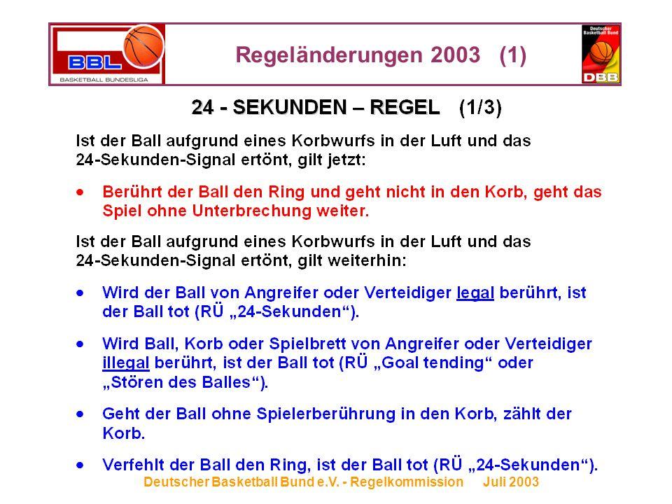 Regeländerungen 2003 (1) Deutscher Basketball Bund e.V. - Regelkommission Juli 2003
