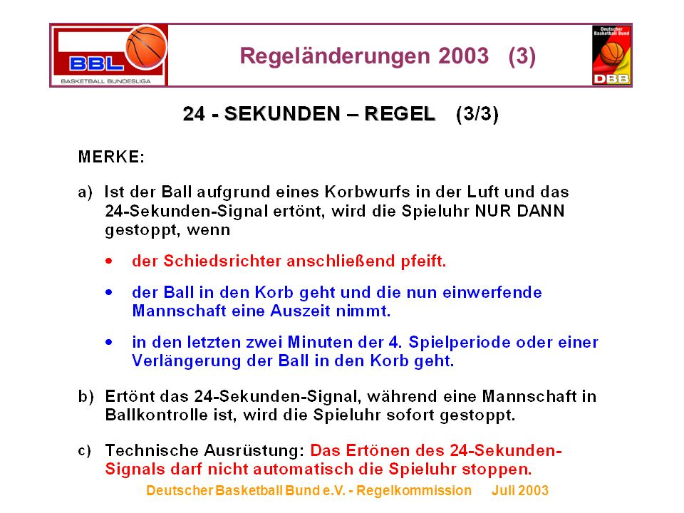 Regeländerungen 2003 (3) Deutscher Basketball Bund e.V. - Regelkommission Juli 2003