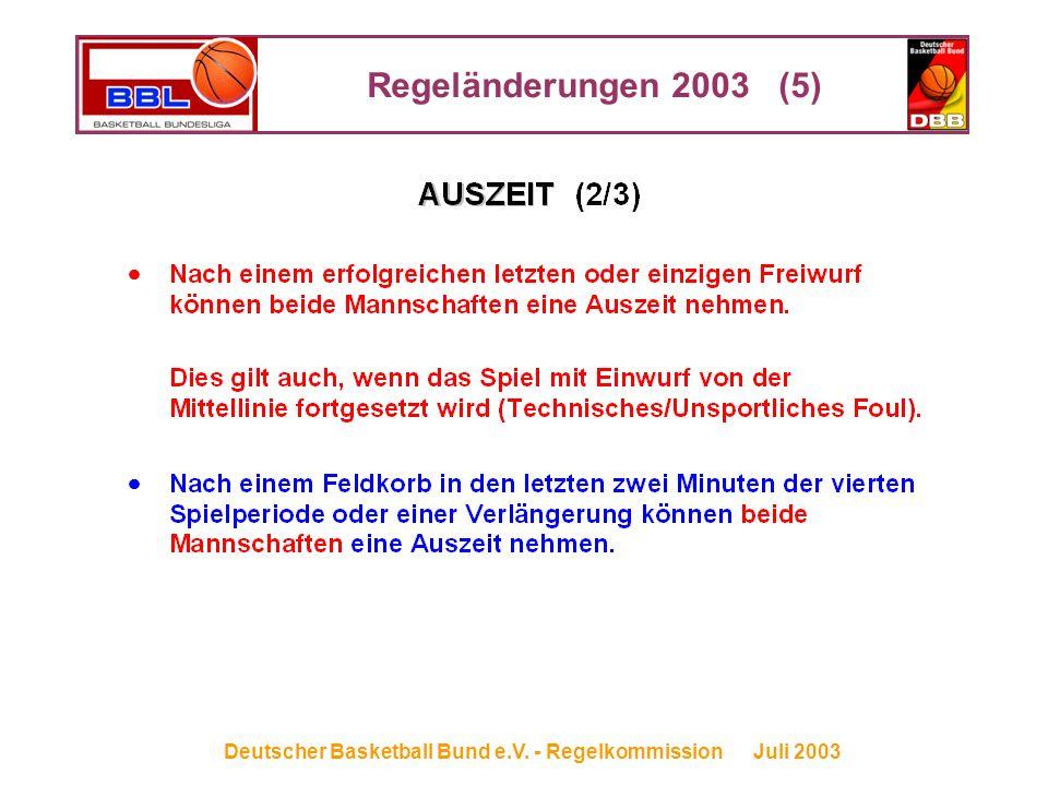 Regeländerungen 2003 (5) Deutscher Basketball Bund e.V. - Regelkommission Juli 2003