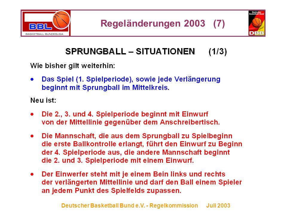 Regeländerungen 2003 (7) Deutscher Basketball Bund e.V. - Regelkommission Juli 2003