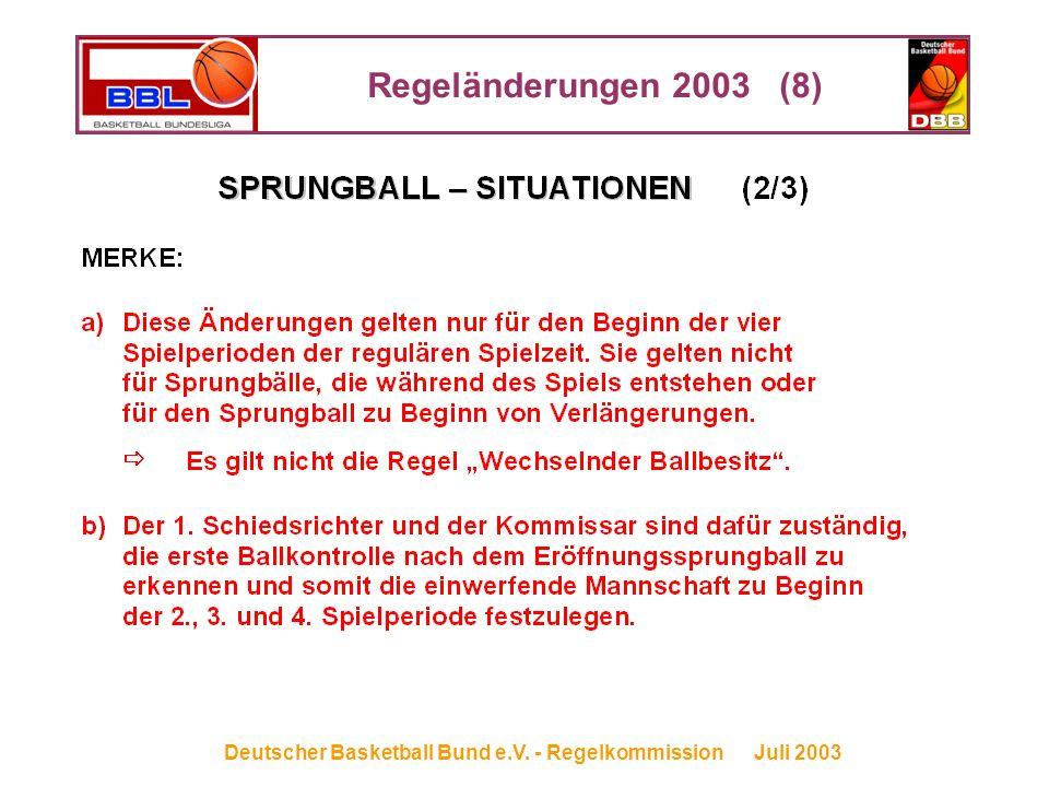 Regeländerungen 2003 (8) Deutscher Basketball Bund e.V. - Regelkommission Juli 2003