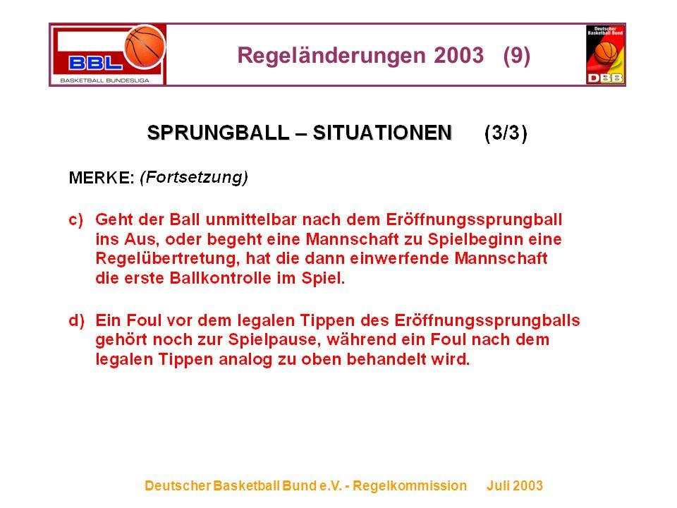 Regeländerungen 2003 (9) Deutscher Basketball Bund e.V. - Regelkommission Juli 2003