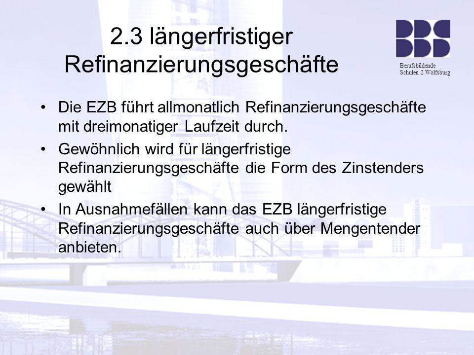 Berufsbildende Schulen 2 Wolfsburg 2.3 längerfristiger Refinanzierungsgeschäfte Die EZB führt allmonatlich Refinanzierungsgeschäfte mit dreimonatiger