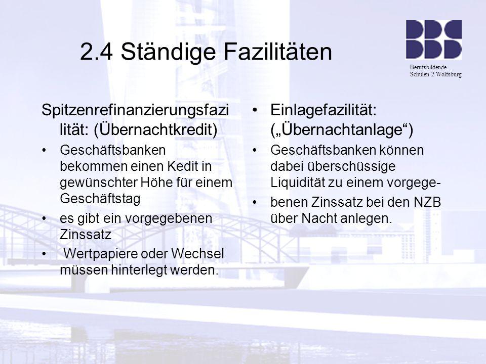 Berufsbildende Schulen 2 Wolfsburg 2.4 Ständige Fazilitäten Spitzenrefinanzierungsfazi lität: (Übernachtkredit) Geschäftsbanken bekommen einen Kedit i